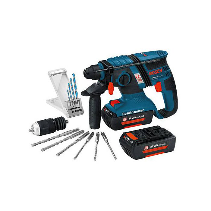 Bosch GBH36VEC Compact Brushless Cordless SDS Drill 2.0Ah GBH 36 V-EC & Free Accessories
