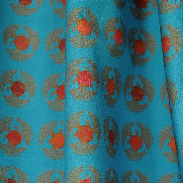 Für dieses Muster habe ich mich von den alten japanischen Mustern inspirieren lassen. Ein Schwarm Schwäne kreist um die untergehenden rot glühenden Sonnen. Ein schönes Stoffmuster  auch  passend für Männerhemden sowie für Frauen, Blusen, Röcke als auch Vorhänge, Kissen und Taschen.