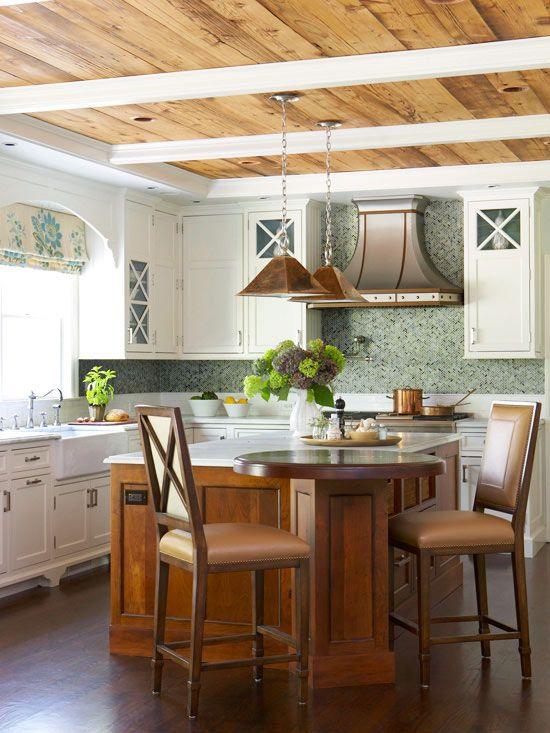 We love this laid-back and charming kitchen. Tour the rest of this space: http://www.bhg.com/kitchen/styles/traditional/comfortable-rustic-kitchen/?socsrc=bhgpin070413bluetile