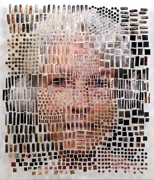 Eleanor   Artist Michael Mapes dissects photos and arranges them, pinning fragments like insects, and putting other pieces in vials.