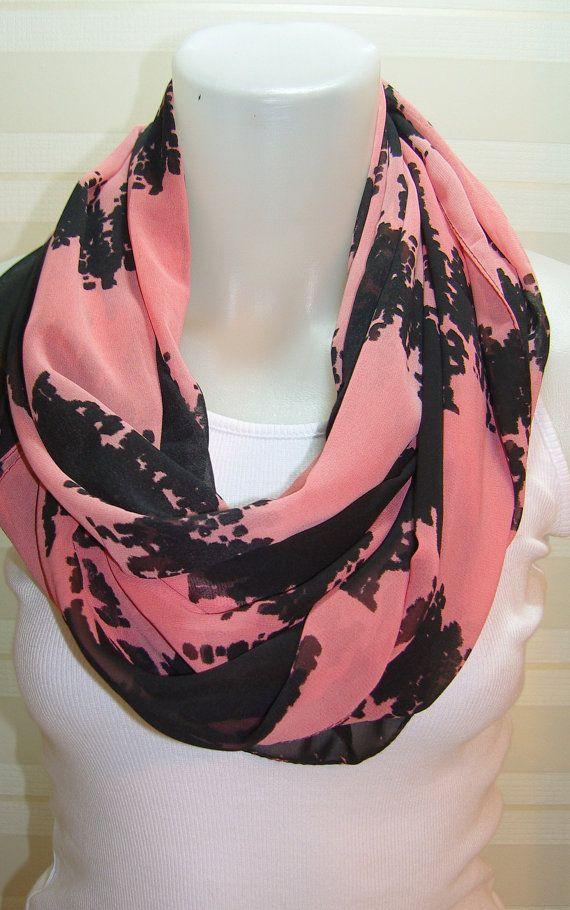 ON SALENeon Pink Multicolor ScarfLoop Scarf Long by BalMelek, $12.90