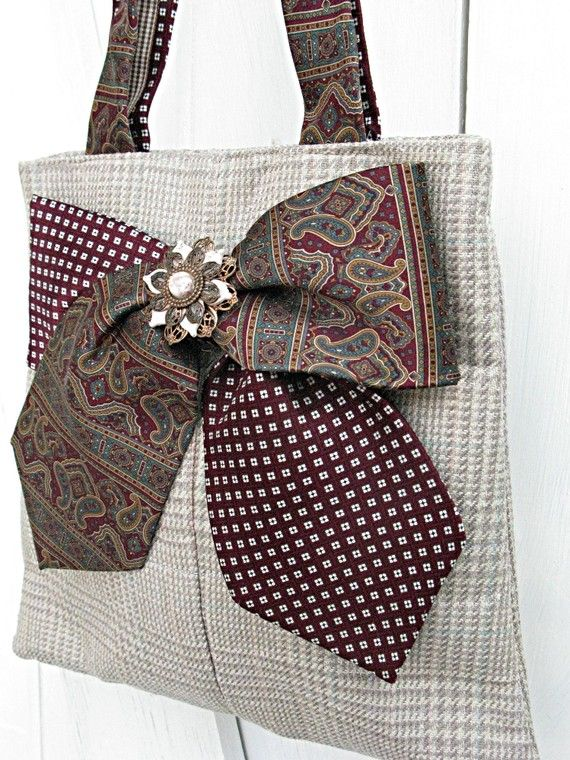 Strawcolored silk plaid tote bag made from men's by LilyWhitepad