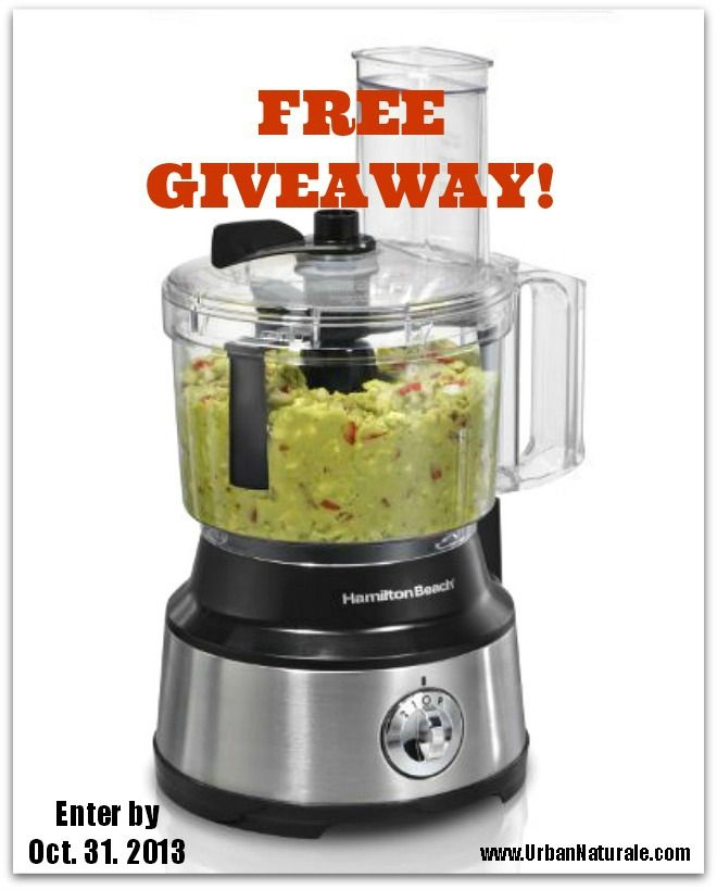 Free Giveaway: Enter to Win a Hamilton Beach Food Processor. Enter to win at www.urbannaturale.com