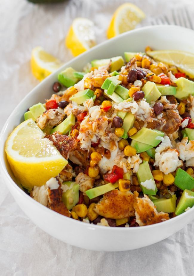 Fresh blackened spicy tilapia fillets, corn, black beans, red peppers and avocados