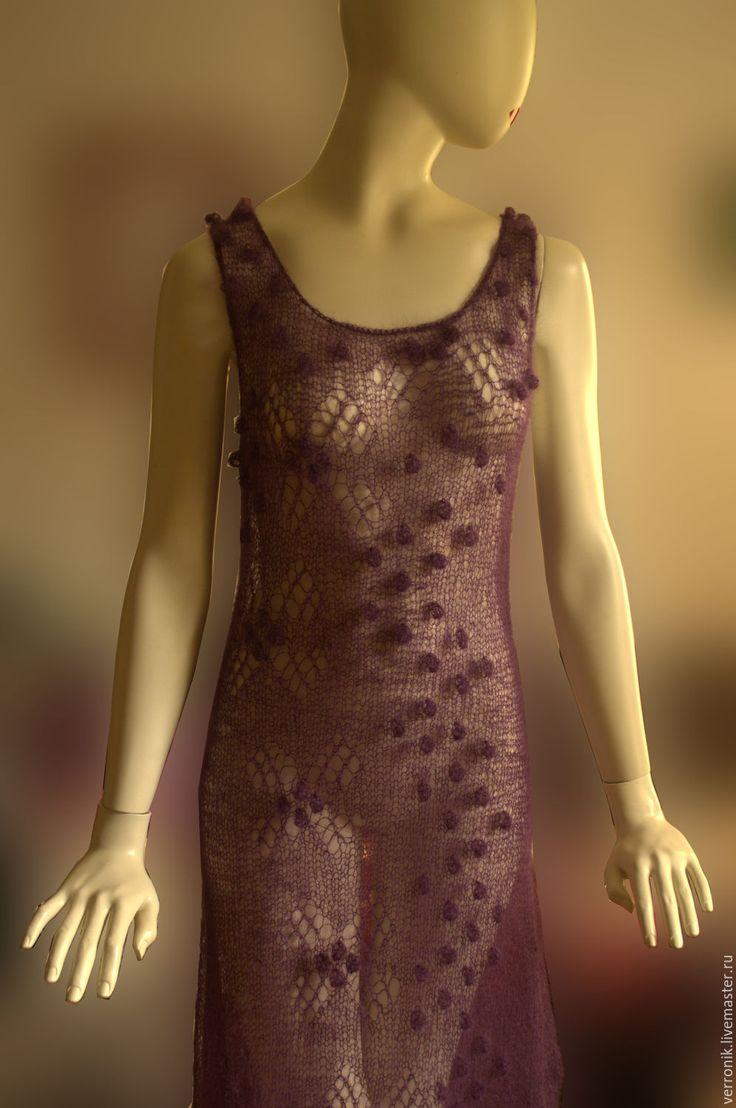 """Купить Платье вязаное """"Зимняя ежевика"""" Фиолетовый. Платье ручной работы. - платье, платье вязаное"""