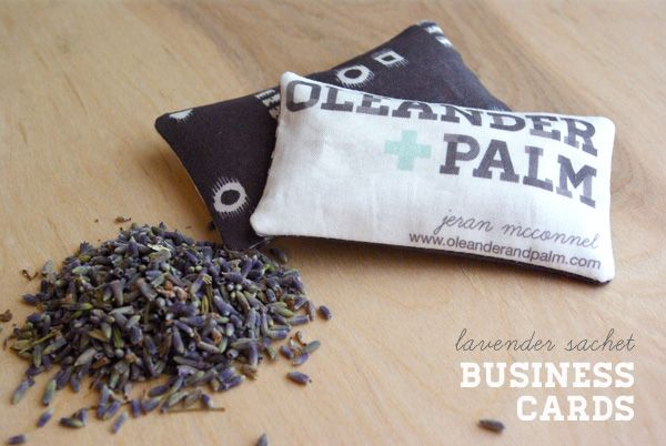 Lavender Sachet Business Cards created by Jeran at OleanderandPalm.com . Don't feel guilty about the Fabri Tac, Jeran. Feel the love!