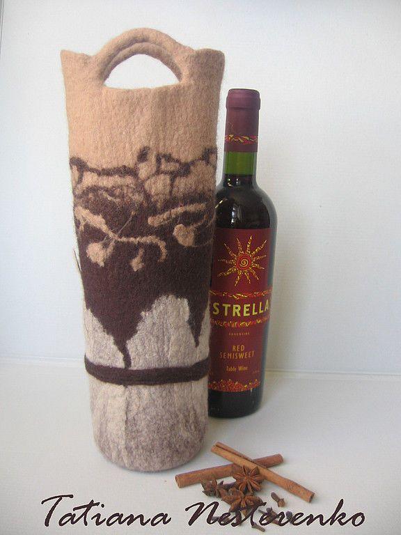 """Купить Сумочки для бутылок вина """"Роман с капучино"""" и """"Ванильно - оригинальный подарок, сумочка, авторская упаковка"""