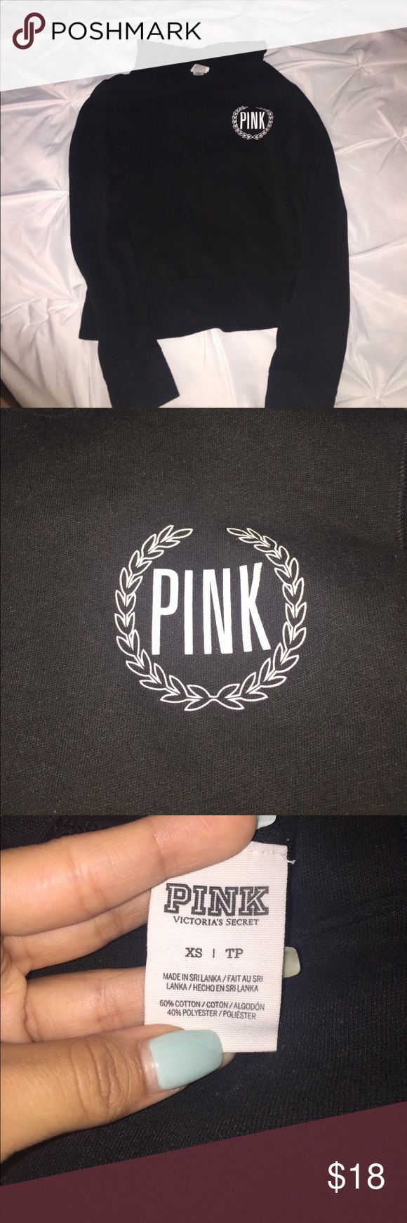 PINK Victoria's Secret Black Hooded Sweatshirt Hi gorgeous people, so i'm selling this sweatshirt just because I simply don't wear it anymore and its really not my style. It has been gently worn but there are no signs of stains or anything. I purchased this a couple years back at the PINK store for about $40. PINK Victoria's Secret Sweaters Crew & Scoop Necks