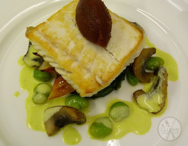 Cod Loin, Spinach, Pea Veloute #catering #events #leicestershirefood #xclusive
