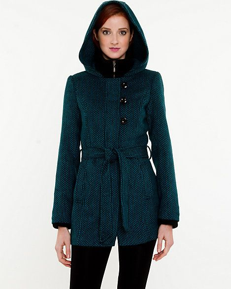 Le Château: Tweed Hooded Coat