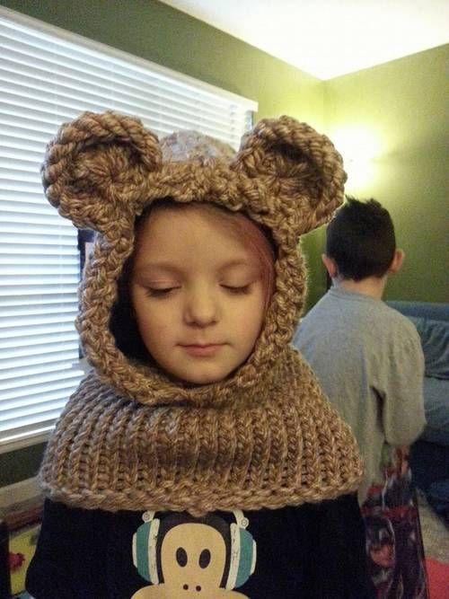 Loom Knit Bear Cowl - KNITTING