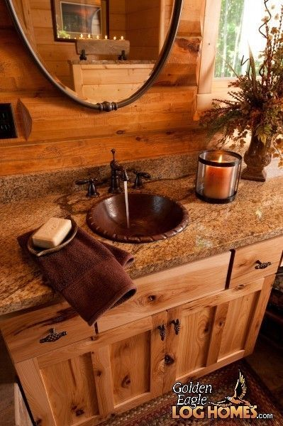 Copper sink-yes. Granite counter-yes. Wooden sink base-yes. Log Homes and Log Home Floor Plans Cabins by Golden Eagle Log Homes