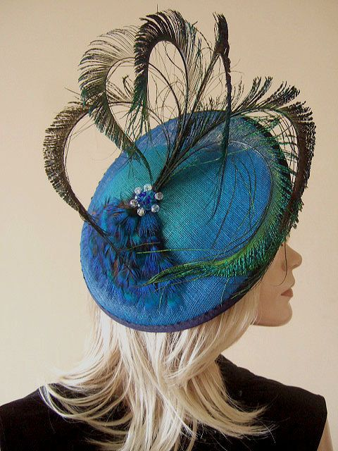 Alternate for zia, Peacock Fan Fascinator on Jade Graduated to Royal Blue Saucer Hatinator Hat - Ascot via Etsy