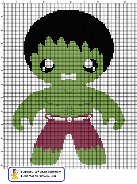 Bebe Hulk, un super heroe en punto de cruz. www.puntodecruzweb.blogspot.com