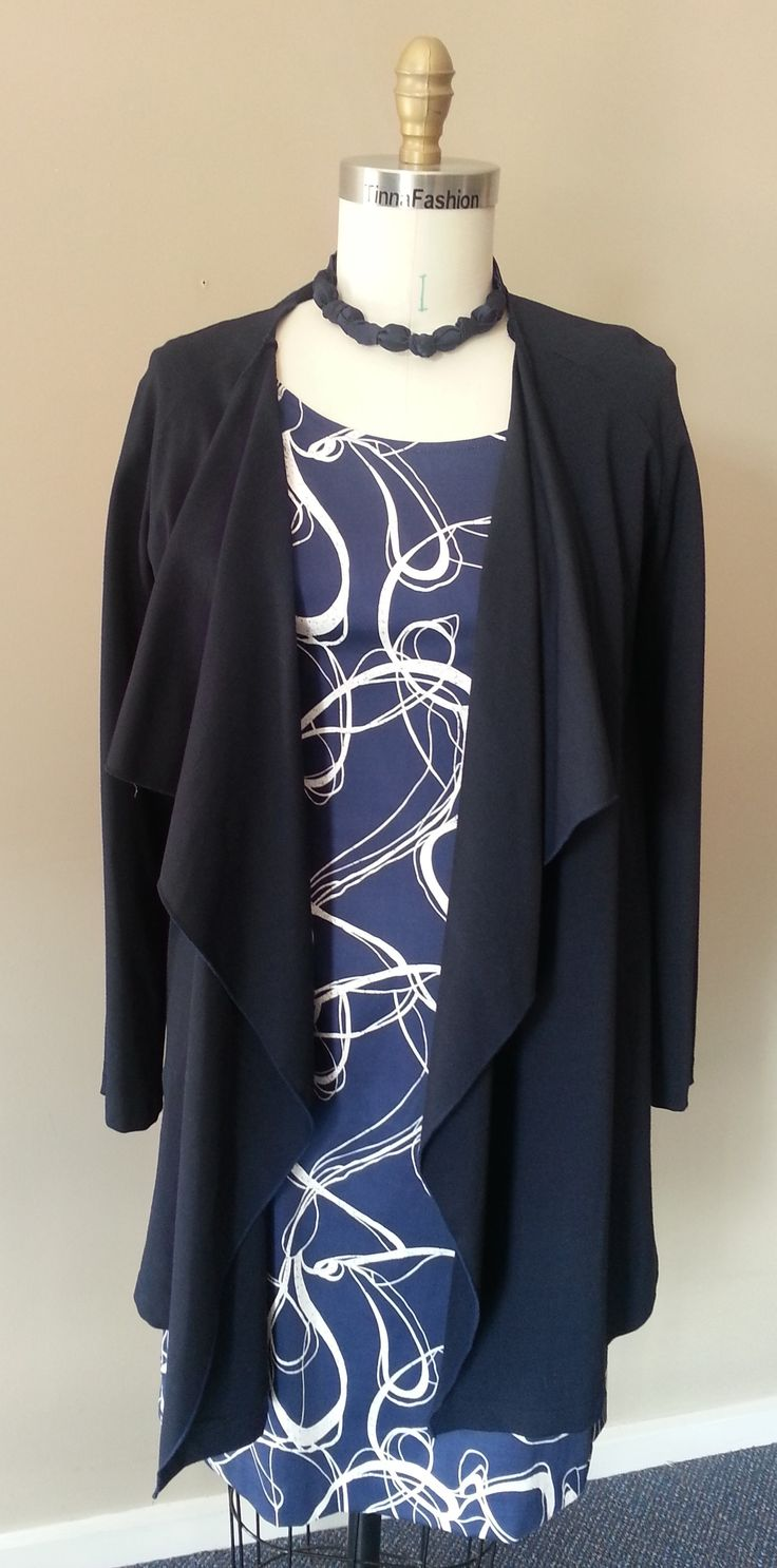 Fitted Dress in Navy Swirl fabric and Waterfall Jacket in Navy Ponti fabric