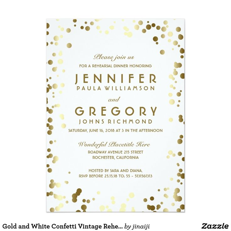 Gold and White Confetti Vintage Rehearsal Dinner