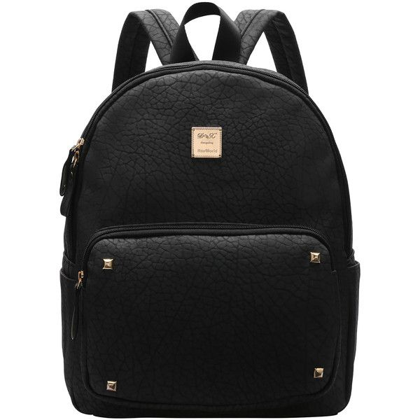 SheIn(sheinside) Black Metallic Embellished PU Backpacks ($19) ❤ liked on Polyvore featuring bags, backpacks, black, shein, metallic backpack, day pack backpack, decorating bags, pu backpack and metallic bag