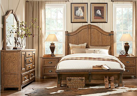 The Eric Church Highway to Home Heartland Falls Brown 5-Piece Queen Panel Bedroom features a rustic mirror, dresser, and 3-piece bed with plank-style headboard and upholstered bench footboard.