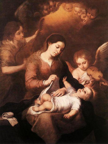 Mary And Child With Angels Playing Music Bartolome Esteban Murillo (1617 – 1682, Spanish)