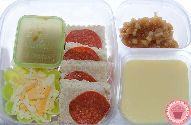 DIY Lunchable. Pizza crust, pepperoni, pizza sauce, shredded cheese, s/f vanilla pudding, cinnamon apples.