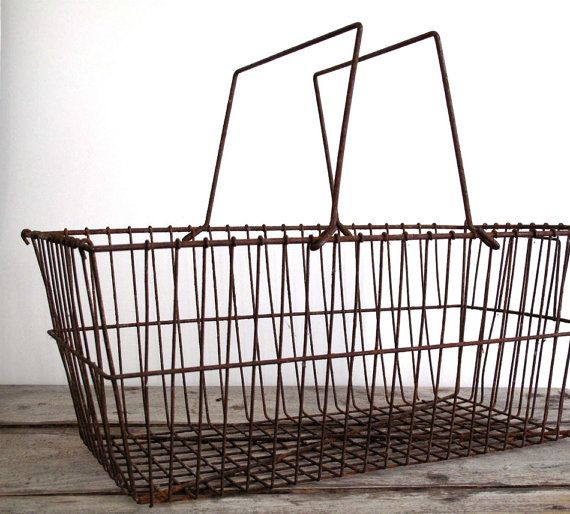 Vintage Wire Basket / Metal Basket - Vintage Industrial Basket - Industrial Storage / Industrial Decor