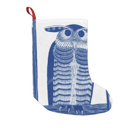 Cite Modern Owl In Blue Small Christmas Stocking - christmas stockings merry xmas cyo family gifts presents