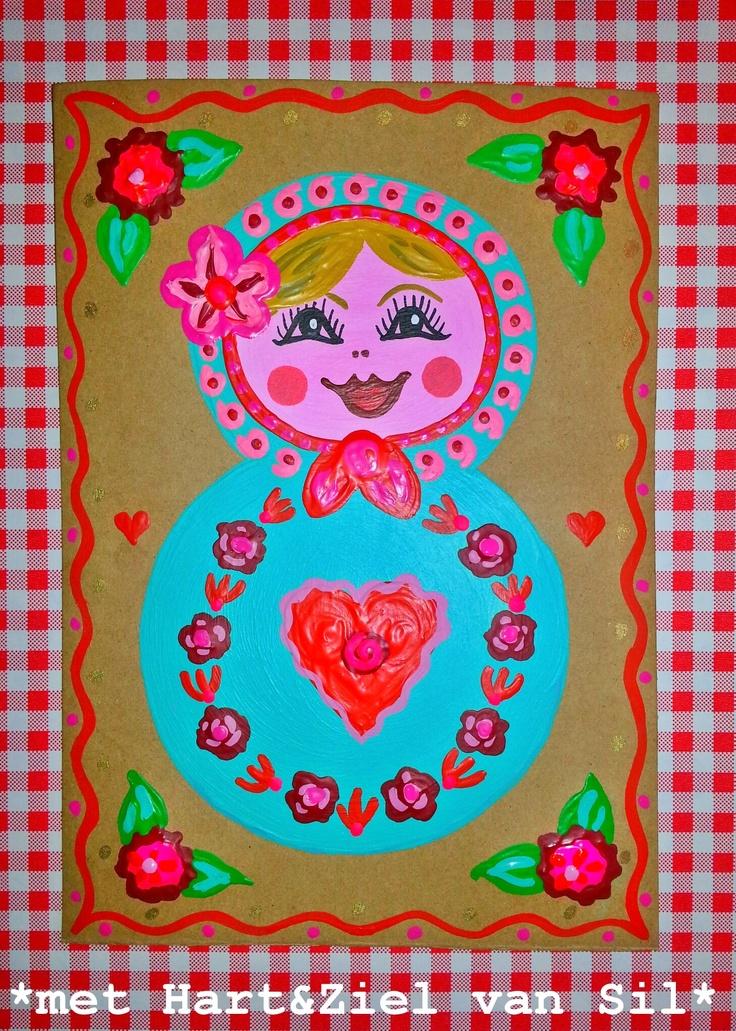 ~Hand-beschilderde grote matroesjka-prentenkaart gemaakt door mijzelf~