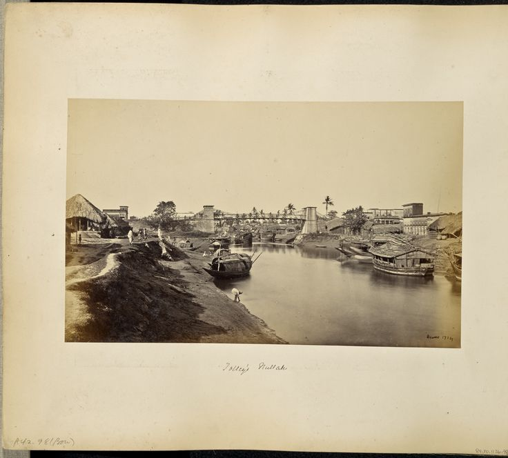 Calcutta; View of Native Boats on the Canal, at Kali Ghat; Samuel Bourne (English, 1834 - 1912); Calcutta, West Bengal, India; about 1872; Albumen silver print; 19.1 × 31 cm (7 1/2 × 12 3/16 in.); 84.XO.1126.98; J. Paul Getty Museum, Los Angeles, California