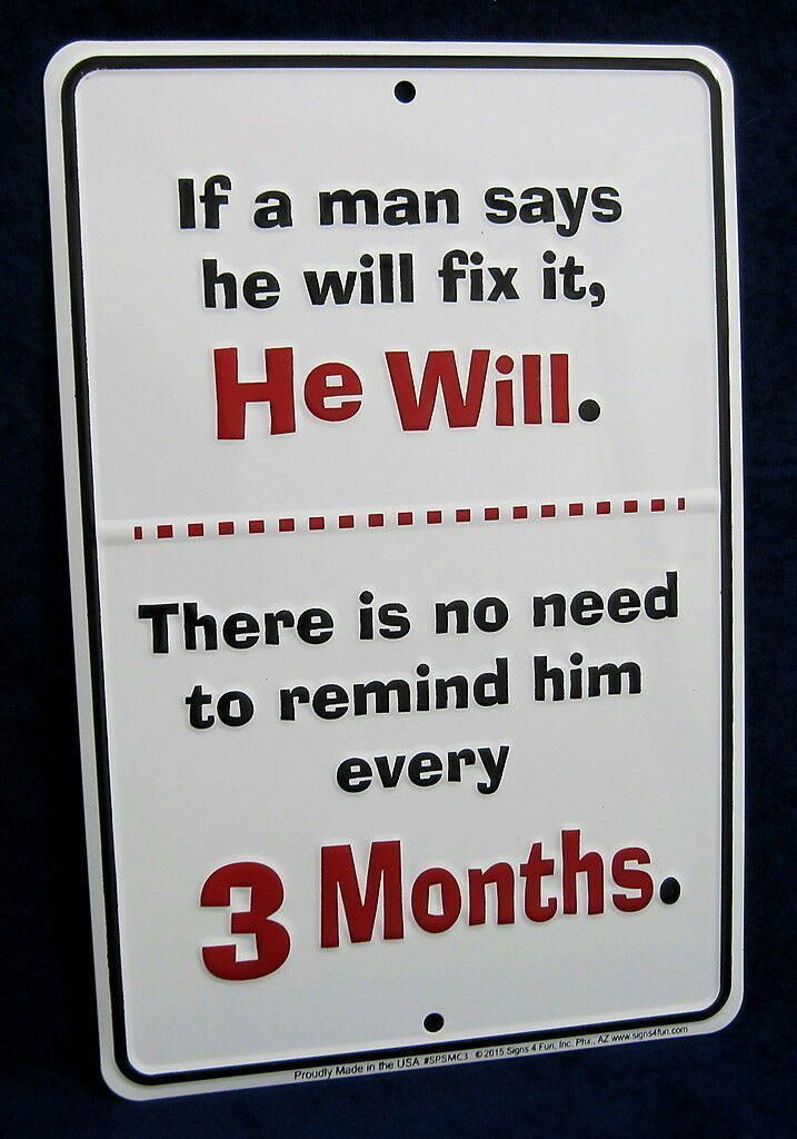 Details about A MAN WILL FIX IT -*US MADE* Embossed Sign – Man Cave Garage Shop Bar Wall Decor