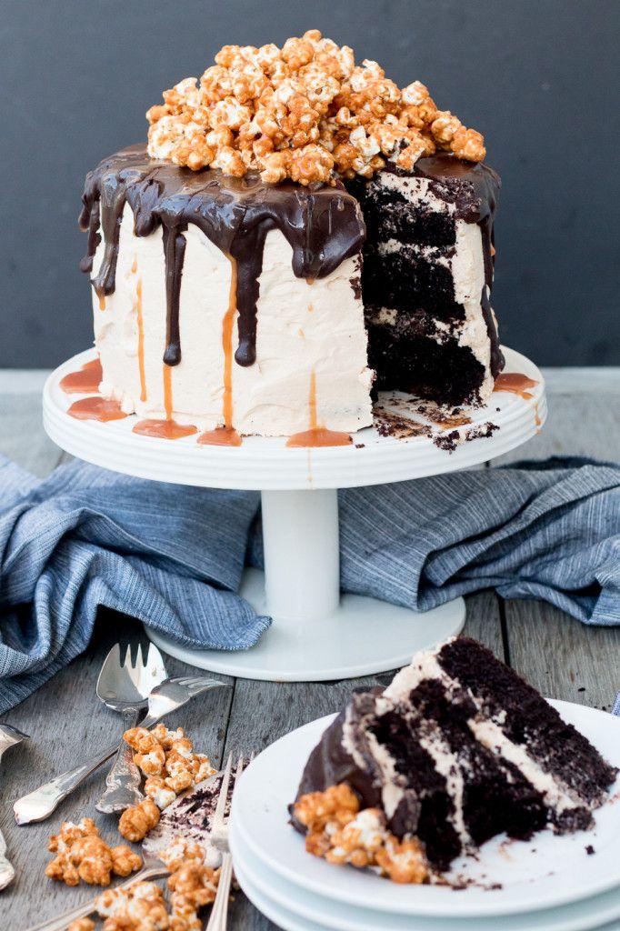... triple-layer chocolate cake with salted caramel buttercream, chocolate ganache and caramel popcorn ...