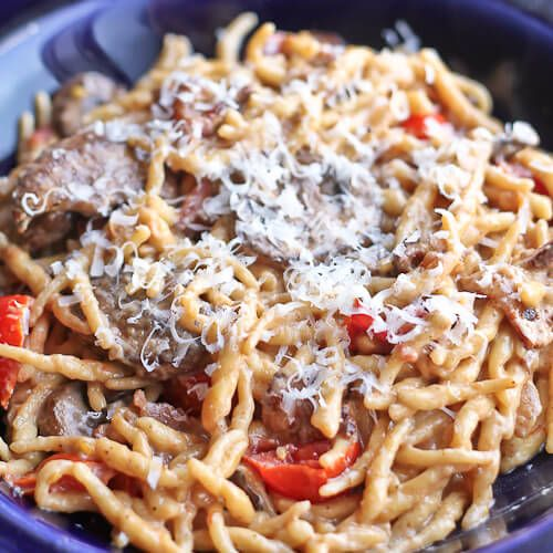Trofie with Bacon, Crimini and Cherry Tomatoes