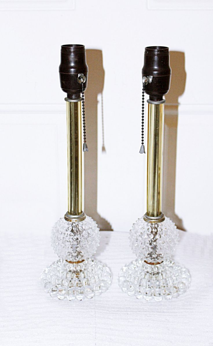 Vintage crystal table lamp - Antique Pair Table Lamps Clear Crystal Shaft Clear Hobnail Base Pull Chain On Off Switch 100 Watt Max Each Lovely Boudoir Lamps