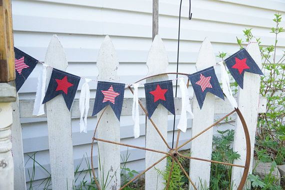 American flag banner denim pennant banner USA banner 4th of