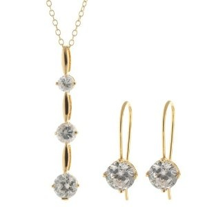 #1: 18k Gold Plated Sterling Silver Cubic Zirconia Earrings and Pendant Necklace Set, 18