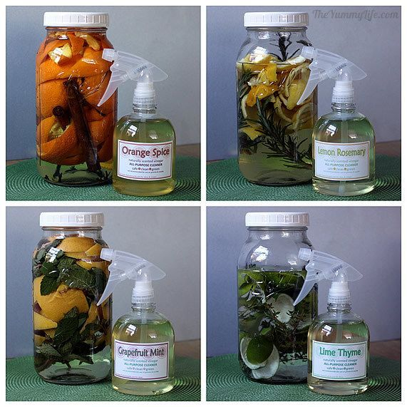 DIY Naturally Scented All-Purpose Citrus Vinegar Cleaners Make your own safe, non-toxic, green cleaners scented with citrus, herbs, and spices; great for gifts, too!