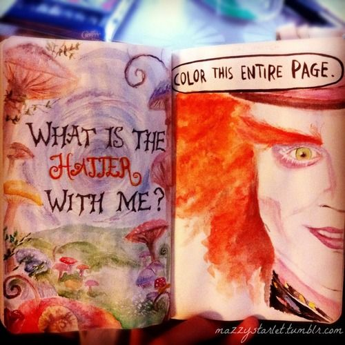 Mad hatters and wrecked journals sur We Heart It. http://weheartit.com/entry/44813107/via/milea