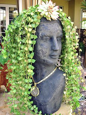 "Gorgeous Female Head Planter This handmade terracotta blend planter, has an aged finish and will develop a weathered appearance if left outdoors. It will lend a classic sophistication to any garden. The head measures 8"" X 8"" X 17"" tall and the shipping weight is approximately 25lbs. Avoid freezing temperatures. Take them inside for winter. $108.00  Includes Shipping/Handling"