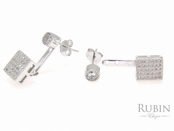 Cirkónia köves több funkciós ezüst  beszúrós fülbevaló