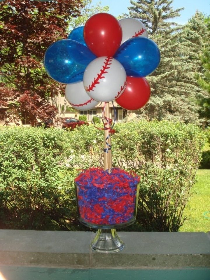 Baseball centerpiece - I made these for my sons graduation party