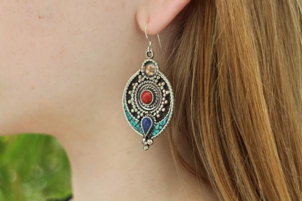 Handmade bohemian drop style, turquoise, lapis lazuli and coral earrings $19.95 USD  #tribalearrings #gypsyjewelry #hippiejewelry #bohoearrings