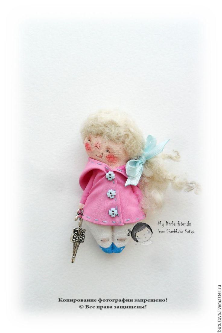 Купить Шербурский зонтик 2. Миниатюрная кукла. БРОШЬ - розовый, дождь, дождевик, ветровка, зонт
