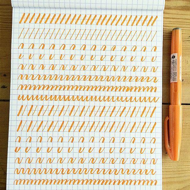 Practicing some #calligraphy #basicstrokes with a #penteltouch pen  #brushlettering #pentel #pentelofamerica #lettering