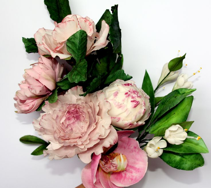 arrengment in pink--orchi-rose dhalia and peonie