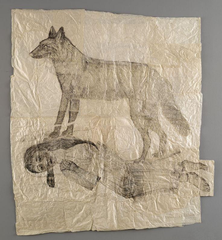Kiki Smith, Sleeping woman with standing wolf, 2004