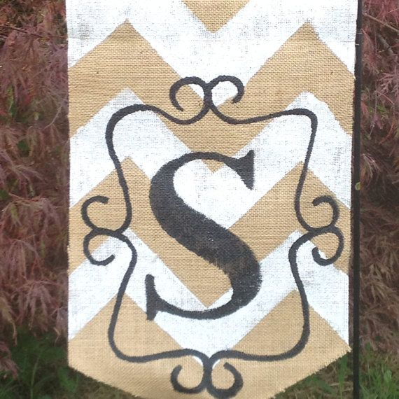 Natural and White Burlap Yard Flag with White by Burlapulous, $20.00