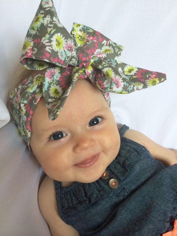 Baby Headwrap Cotton Headwrap Fabric Head Tie Bright Flowers