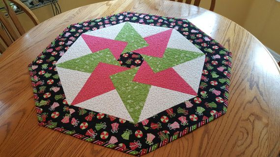 Christmas Table Topper Quilted Table Topper Christmas