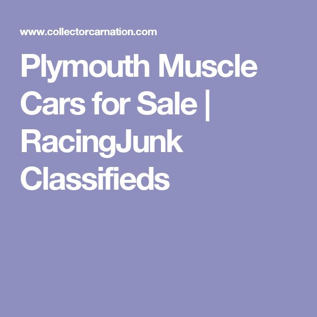 Plymouth Muscle Cars for Sale | RacingJunk Classifieds