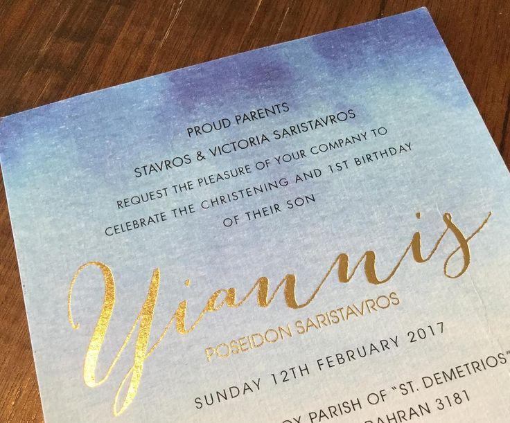 A stunning foil print christening invitation #foilprintinvitation  #goldfoilinvitations  #Regram via @inspireddesigninvites