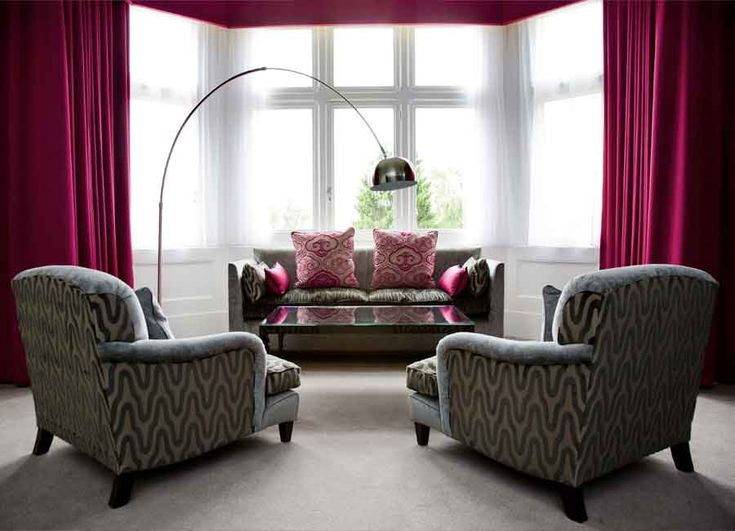 Grey Designing Sofa Set And Pink Curtains In Room